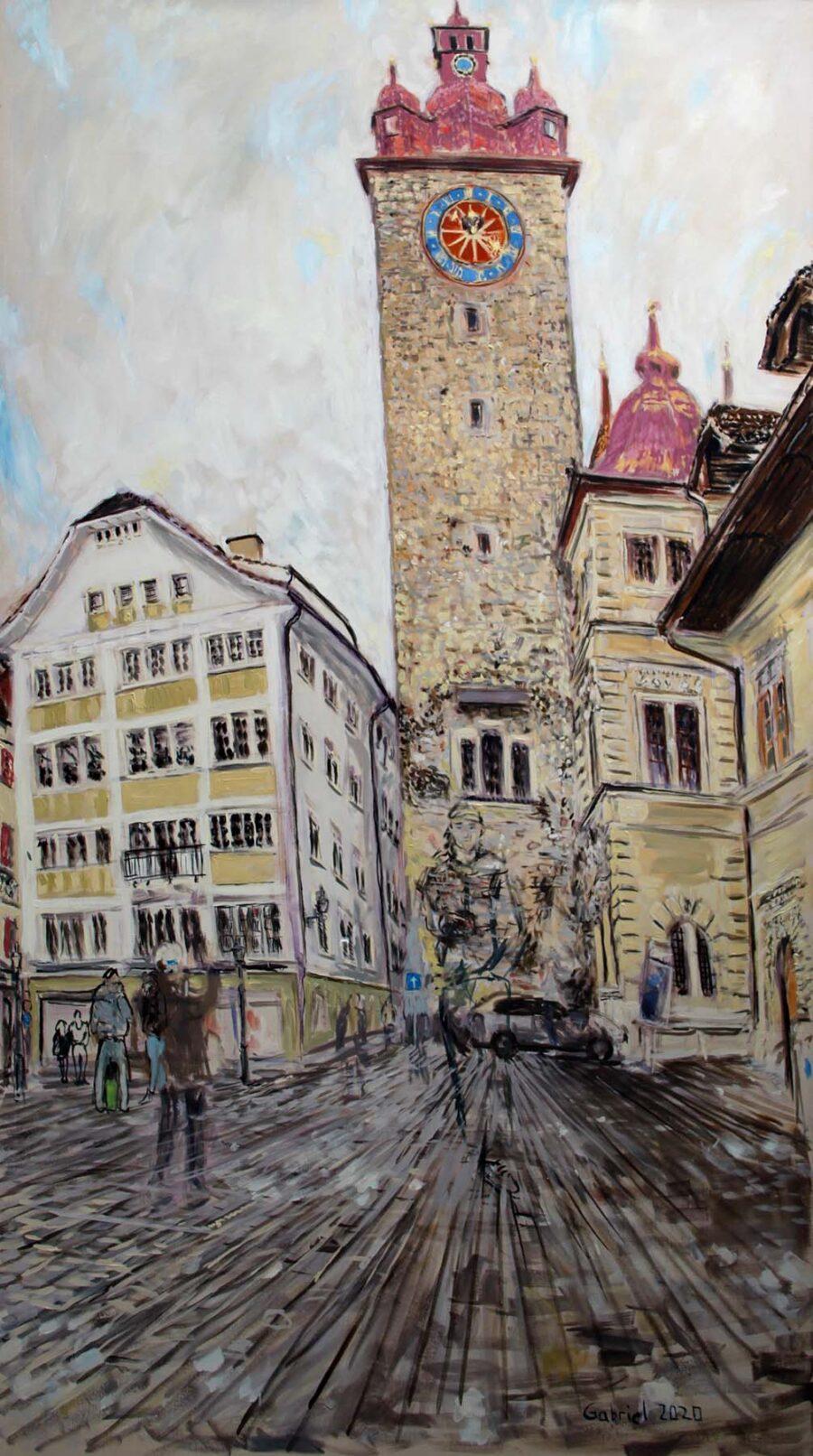 Ölbild Rathauskirche Luzern