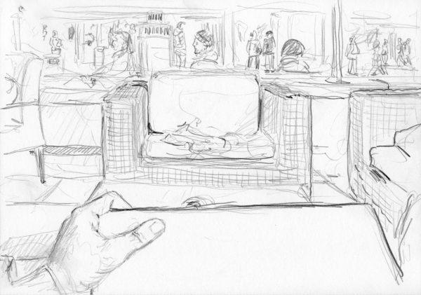 Zeichnung im Café mit Hand