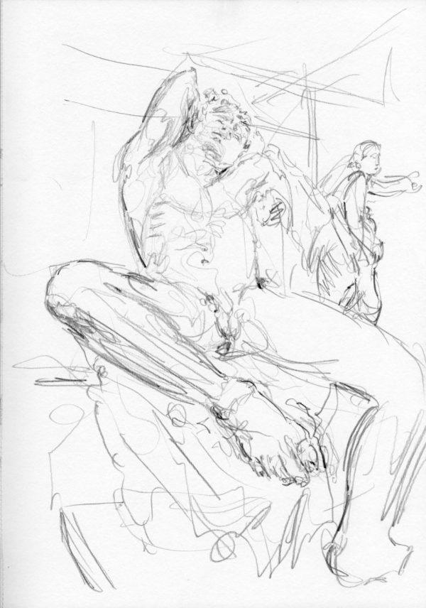 Skulptur liegender Mann