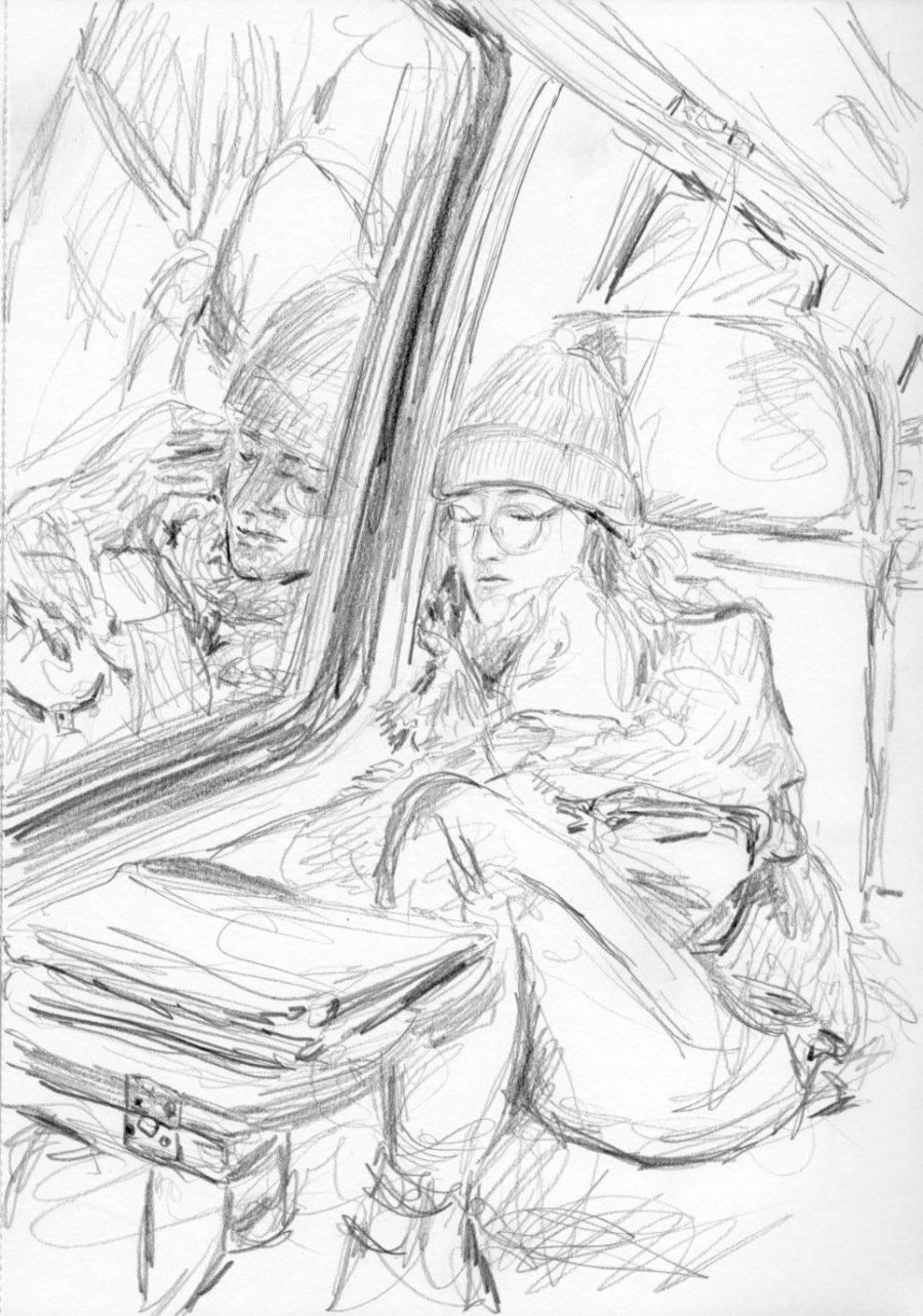 schlafende Frau im Zug