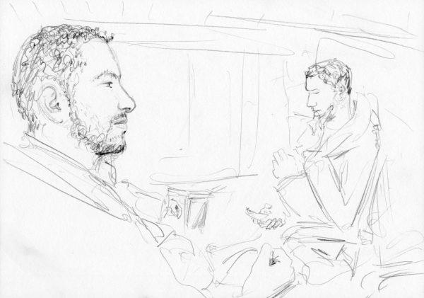 Profil eines Mannes im Zug