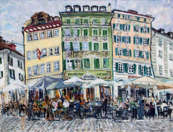 Mühlenplatz Gabriel Kessler Malerei